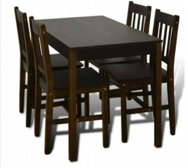 Preferred Small Dining Tables With Rustic Pine Ash Brown Finish With Regard To Small Wooden Dark Brown Dining Table And 4 Chairs Set Kitchen Rustic Pine  Home (#10 of 20)
