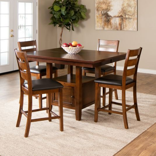 Preferred The Taylor Counter Height Set Offers Fine Craftsmanship In Cappuccino Finish Wood Classic Casual Dining Tables (View 10 of 20)