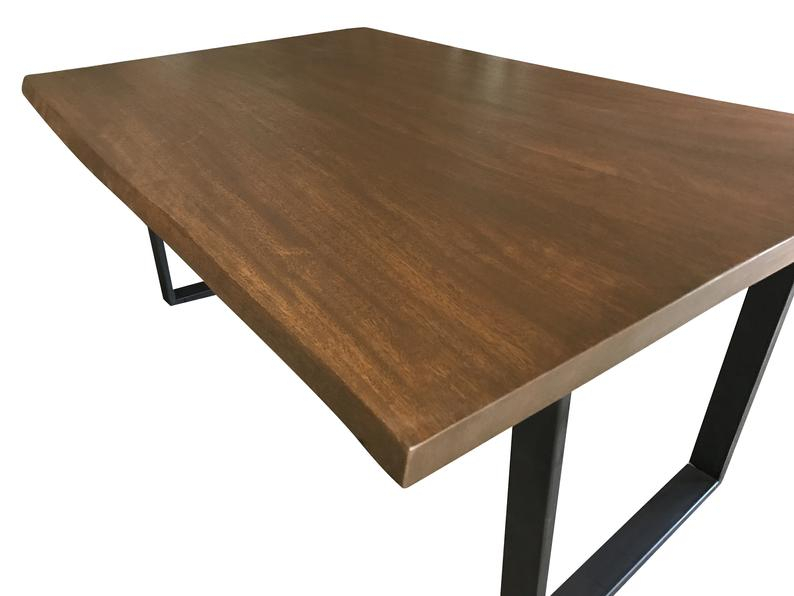 Preferred Walnut Finish Live Edge Wood Contemporary Dining Tables Regarding Live Edge Dining Table Made From Cedro Arana In A Modern Rustic Finish With Black Steel Legs, Ready To Ship, Live Edge Dining Table (View 13 of 20)