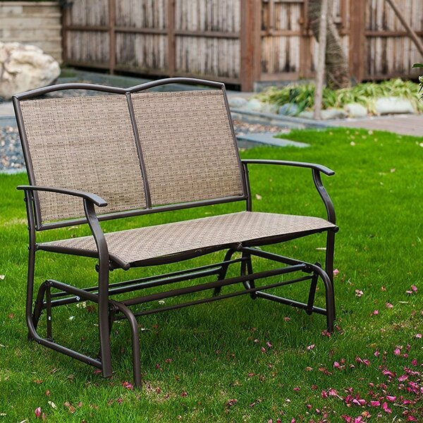 Purchase Callen 49 Outdoor Patio Swing Glider Bench Chair Intended For Iron Grove Slatted Glider Benches (View 11 of 20)