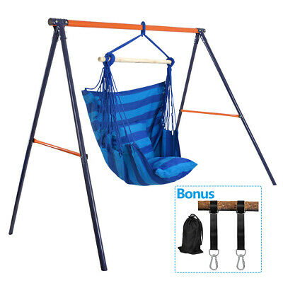 Pvc Powder Coated Swing Stand Frame W/air Hammock Swing Chair+free Hanging Strap | Ebay Inside Outdoor Pvc Coated Polyester Porch Swings With Stand (View 18 of 20)