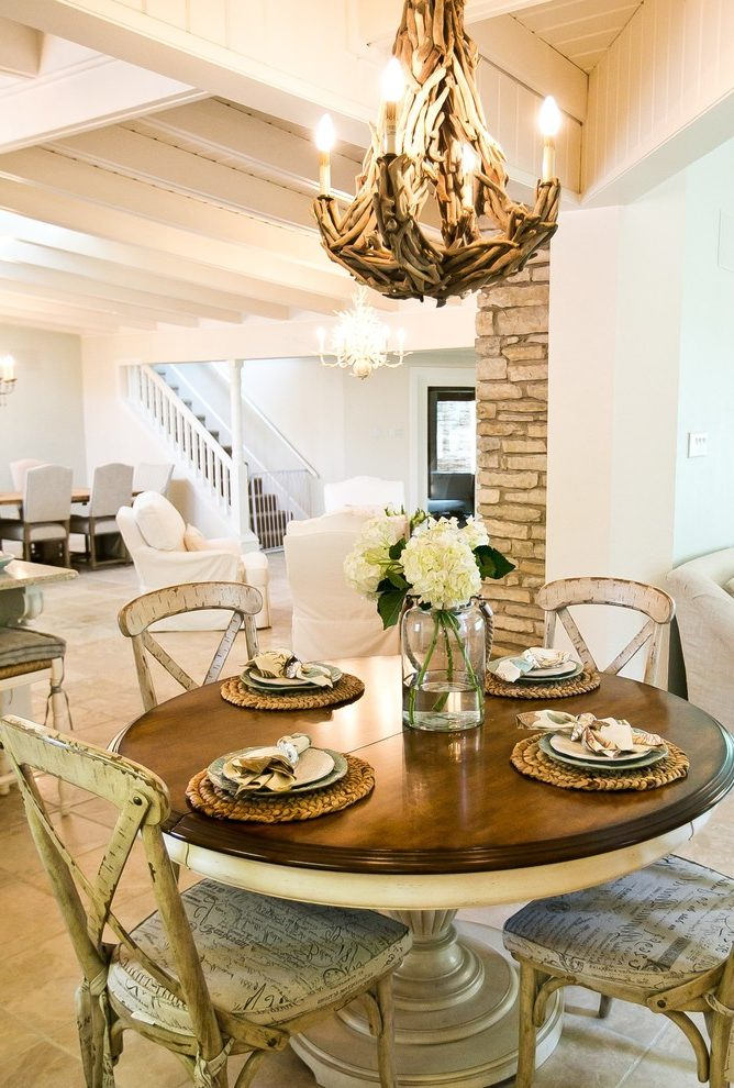 Inspiration about Recent Austin Round Dining Table Centerpiece Room Shabby Chic Style Pertaining To Transitional Driftwood Casual Dining Tables (#18 of 20)