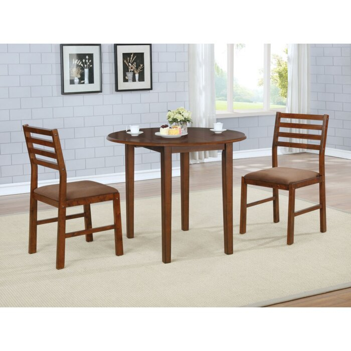 Inspiration about Recent Broughton 3 Piece Drop Leaf Solid Wood Dining Set For Transitional 3 Piece Drop Leaf Casual Dining Tables Set (#3 of 20)