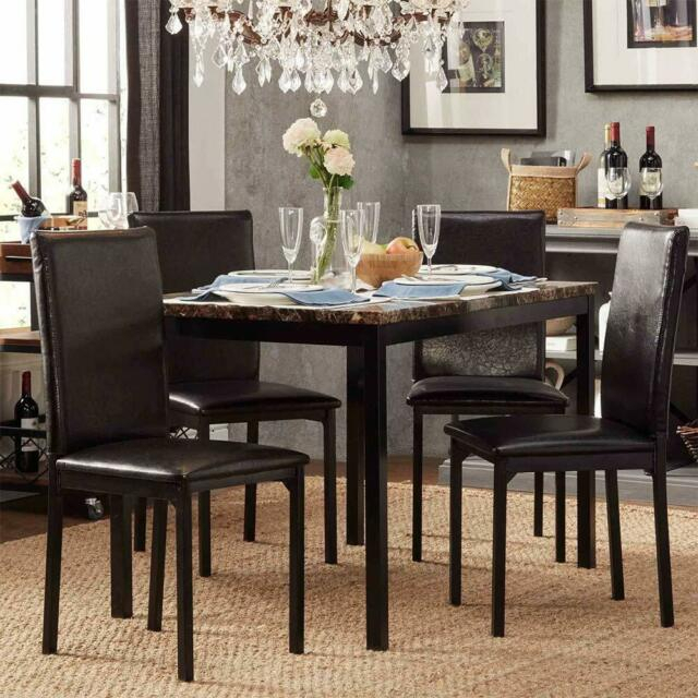 Recent Faux Marble Finish Metal Contemporary Dining Tables In Modern Faux Marble Top Metal Frame 5 Piece Dining Set – Black Finish (#17 of 20)