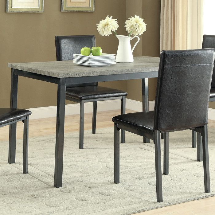 Recent Frosted Glass Modern Dining Tables With Grey Finish Metal Tapered Legs Within Hagerty Dining Table (#16 of 20)