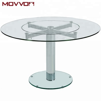 Inspiration about Recent Manufacturer Steel Chromed Frame Round Tempered Glass Top Dining Table With  Two Glasses – Buy Round Glass Dinning Table,swivel Glass Dinning In Chrome Dining Tables With Tempered Glass (#8 of 20)