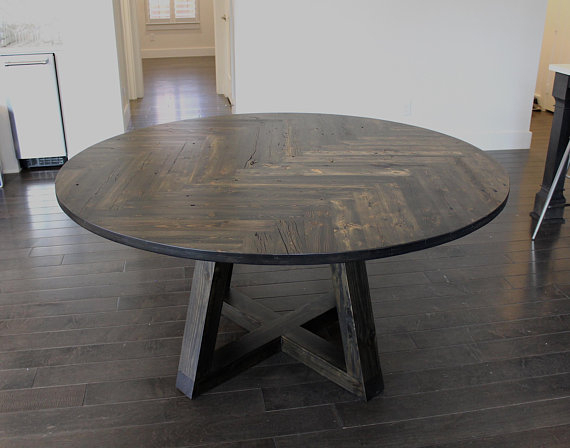 Reclaimed Circle Herringbone Dining Table — Double Throughout Most Recently Released Dining Tables With Stained Ash Walnut (View 6 of 20)