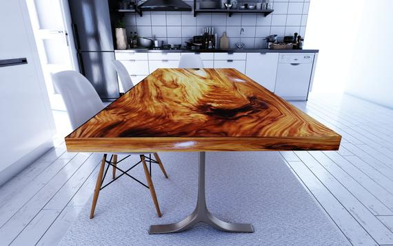 Inspiration about Reclaimed  Wood Table, Farmhouse Dining Table, Natural Wood Furniture Within Preferred Acacia Wood Dining Tables With Sheet Metal Base (#5 of 20)