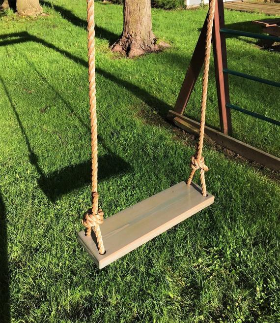 Inspiration about Rectangle Gray Cedar Swing | Wooden Tree Swing | Outdoor Wood Swing |  Outdoor Kids Swing | Outdoor Tree Swing | Rope Tree Swing Throughout 3 Person Natural Cedar Wood Outdoor Swings (#20 of 20)