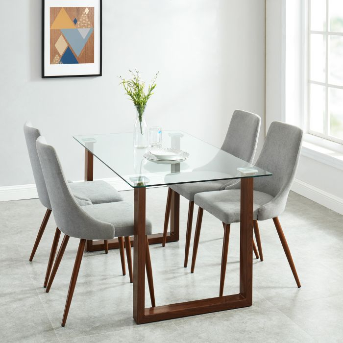 Rectangular Dining Tables Within Most Up To Date Brillcool Franco Clear Tempered 8Mm Glass Top Rectangular Dining Table In  Walnut (#17 of 20)
