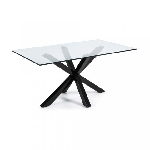 Rectangular Glass Dining Room Table Hema With Black Legs, Modern Style In Most Up To Date Glass Dining Tables With Metal Legs (#17 of 20)