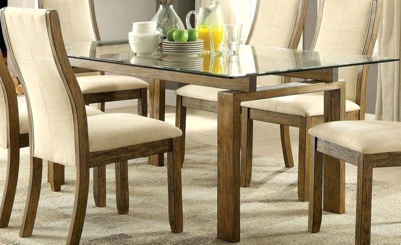 Rectangular Glass Dining Table With Wood Base – Otomientay Throughout Widely Used Rectangular Glasstop Dining Tables (View 5 of 20)