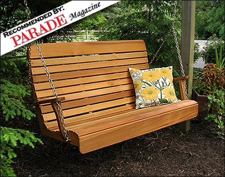 Red Cedar Royal Highback Porch Swing Within Lamp Outdoor Porch Swings (View 16 of 20)