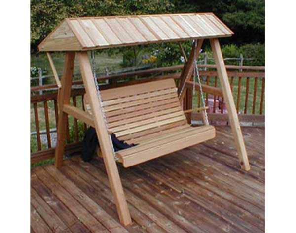 Inspiration about Red Cedar Swing Stand W/ Cedar Canopy Intended For Canopy Patio Porch Swing With Stand (#16 of 20)