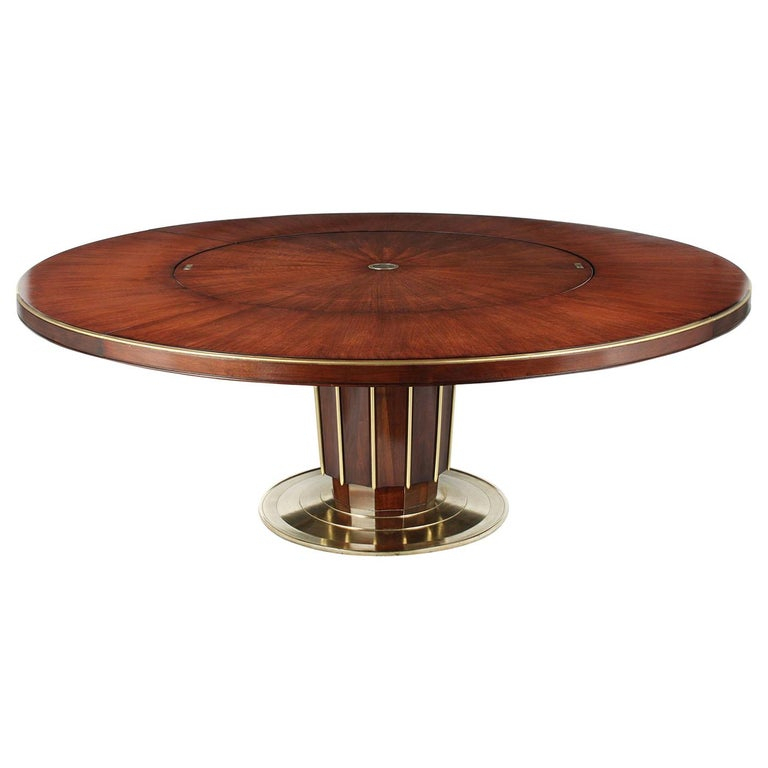 Regency Style Round Dining Tablebaker With Lazy Susan Throughout Newest Wood Kitchen Dining Tables With Removable Center Leaf (View 8 of 20)