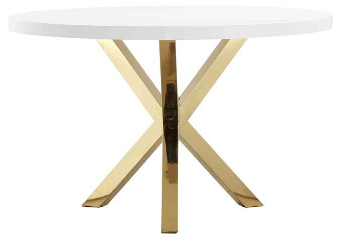 """Remi 47"""" Round Dining Table – White/gold (View 8 of 20)"""