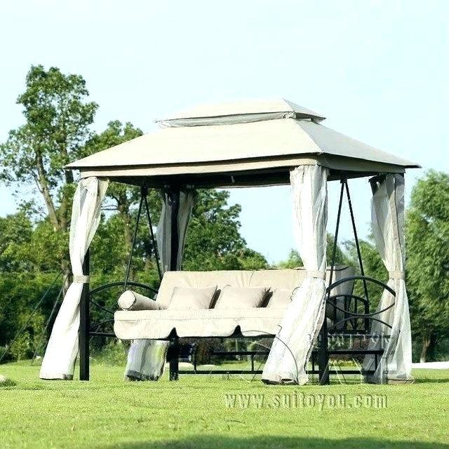 Replacement Cushions And Canopy For Outdoor Swing Pertaining To Patio Gazebo Porch Swings (View 14 of 20)