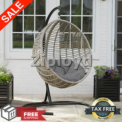 Inspiration about Resin Wicker Hanging Egg Chair Outdoor Porch Swing Cushion Steel Stand  Garden 711730991475 | Ebay In Wicker Glider Outdoor Porch Swings With Stand (#10 of 20)