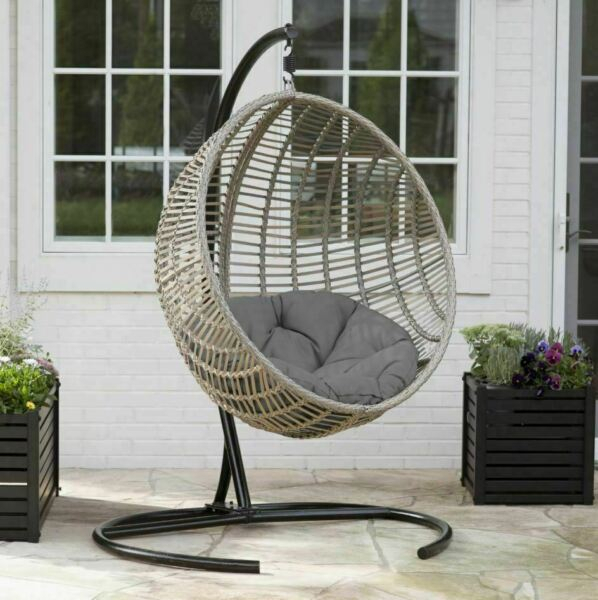 Inspiration about Resin Wicker Hanging Egg Chair Outdoor Porch Swing Cushion Steel Stand  Garden For Outdoor Wicker Plastic Tear Porch Swings With Stand (#7 of 20)
