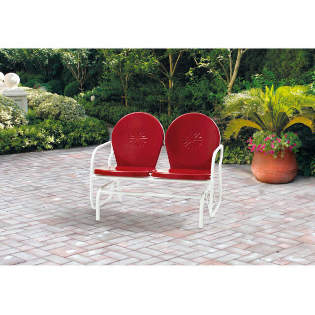Inspiration about Retro Metal Glider Garden Seating Outdoor Furniture Yard Patio Red Chair  Seats 2 Within Outdoor Retro Metal Double Glider Benches (#5 of 20)