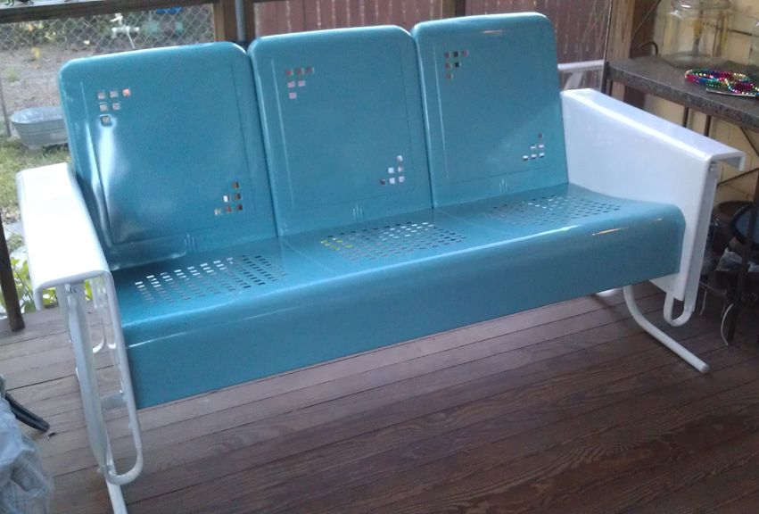 Inspiration about Retro Outdoor Gliders |  Vintage Metal Furniture Within 1 Person Antique Black Steel Outdoor Gliders (#17 of 20)