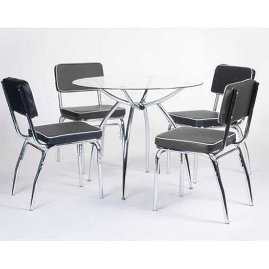Inspiration about Retro Round Glass Dining Set With 4 Faux Lather Chairs Pertaining To Widely Used Retro Round Glasstop Dining Tables (#5 of 20)
