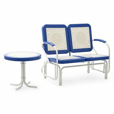 Inspiration about Retro Vintage Style Blue White Metal Patio Glider Bench With Side Table  Outdoor | Ebay Throughout Metal Powder Coat Double Seat Glider Benches (#6 of 20)