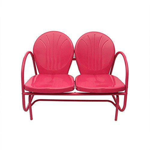 Inspiration about Rich Pacific Pink Retro Metal Tulip Double Glider | Best Throughout Metal Powder Coat Double Seat Glider Benches (#8 of 20)