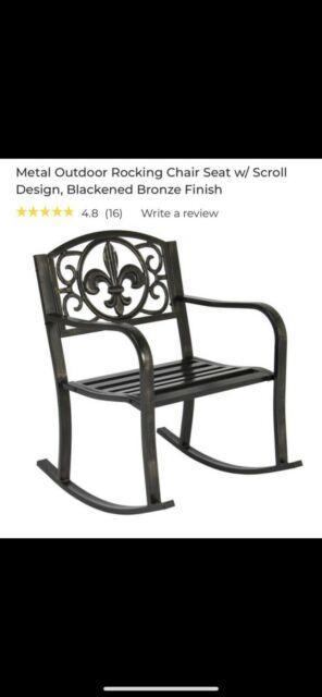 Rocking Chair Outdoor Patio Furniture Porch Seat Deck Iron Glider Rocker Black Throughout Twin Seat Glider Benches (View 12 of 20)