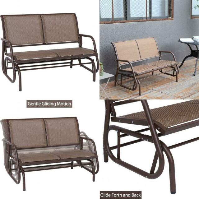 Inspiration about Rocking Seat Outdoor Swing Glider Chair Patio Bench 2 Person Garden Metal  Frame Intended For 2 Person Natural Cedar Wood Outdoor Gliders (#12 of 20)