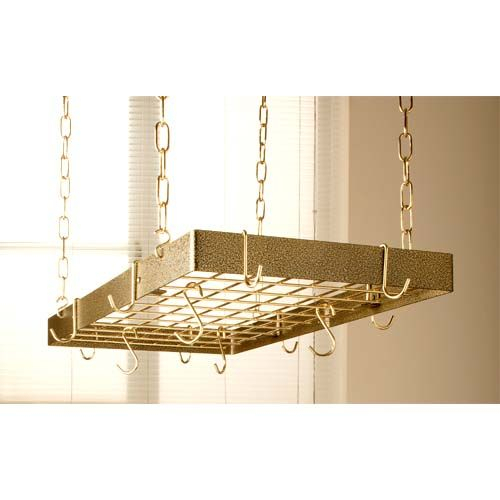 Rogar Potracks Hammered Bronze Rectangular Pot Rack With Within 2 Person Hammered Bronze Iron Outdoor Swings (View 13 of 20)