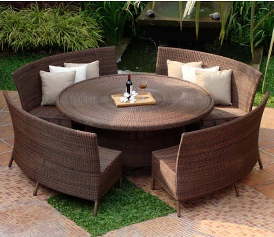 Inspiration about Round 150Cm Table And Curved Bench Dining Set | Round Patio Regarding Outdoor Wicker Plastic Half Moon Leaf Shape Porch Swings (#19 of 20)