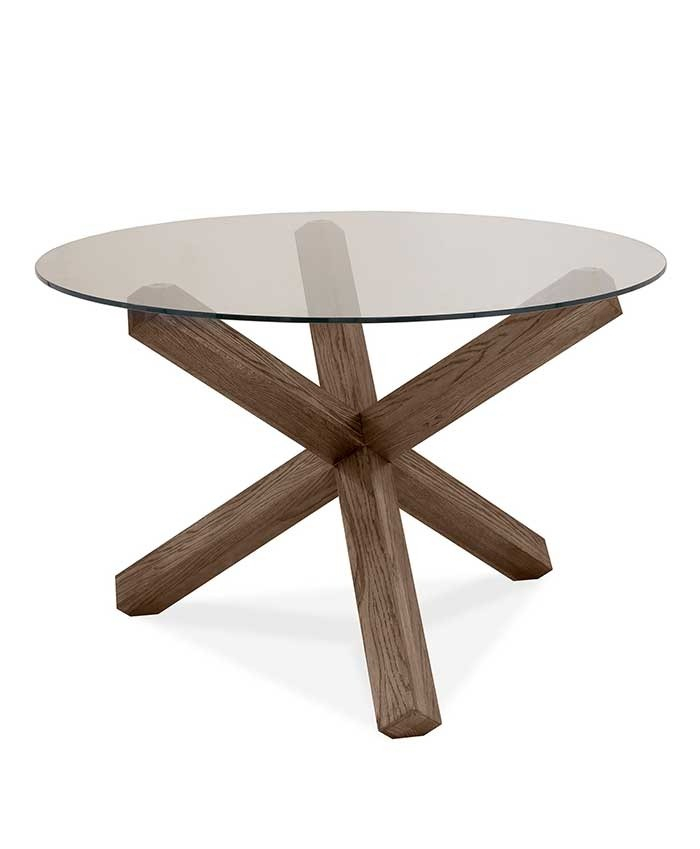Inspiration about Round Dining Tables With Glass Top In Trendy Turin Dark Oak Glass Top Round Dining Table (#4 of 20)