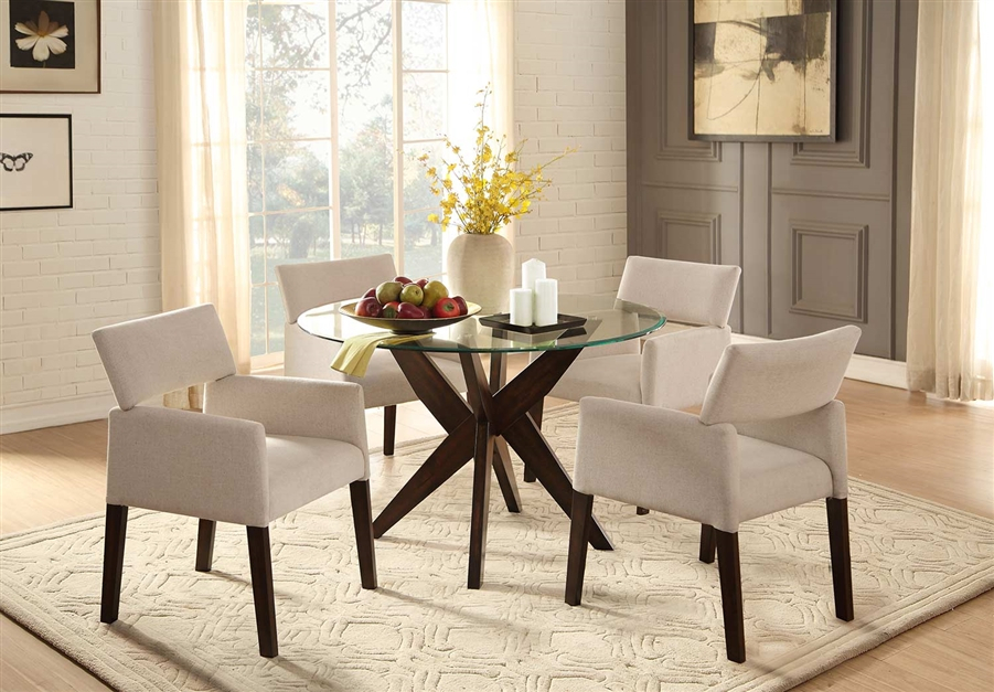Inspiration about Round Dining Tables With Glass Top With Regard To Most Popular Massey 5 Piece Round Dining Set With Glass Top In Espressohome Elegance  – Hel 5491 48 5A (#17 of 20)