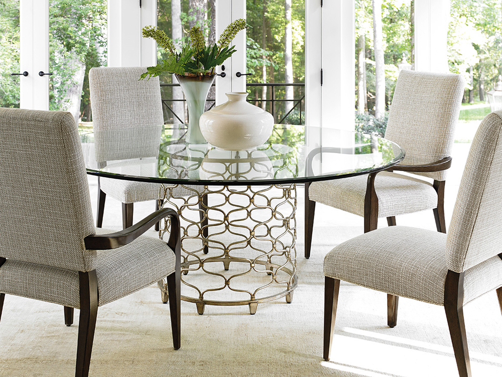 Inspiration about Round Dining Tables With Glass Top With Regard To Well Known Lexington – Laurel Canyon Bollinger Round Dining Table With 72 Inch Glass  Top – 01 0721 875 72C (#9 of 20)