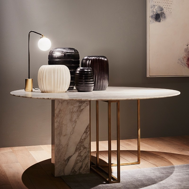 Inspiration about Round Dining Tables Within 2019 Modern Luxury Round Dining Table With Faux Marble Top & Metal Base  Small/medium/large In Brushed Gold (#18 of 20)