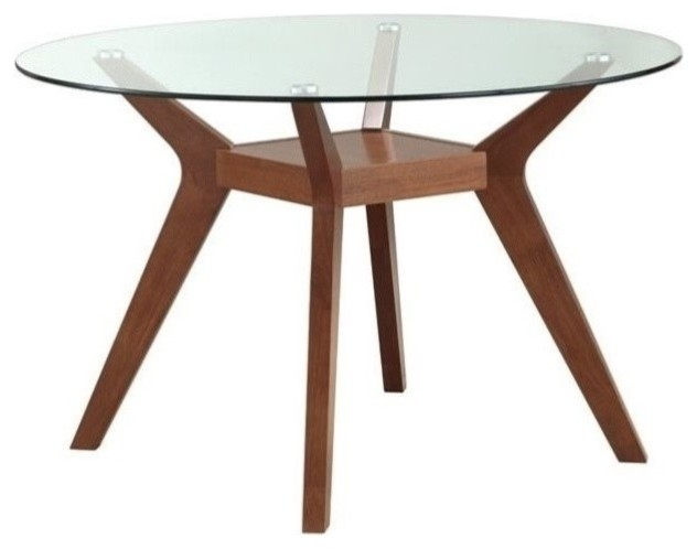 Inspiration about Round Glass Top Dining Tables With Regard To Most Up To Date Coaster Paxton Round Glass Top Dining Table In Nutmeg (#1 of 20)