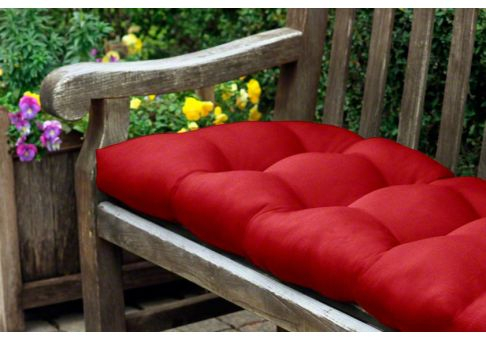"Inspiration about Rounded Back Tufted Sunbrella Bench Or Glider Cushion: 46"" X 20"" In Glider Benches With Cushion (#19 of 20)"