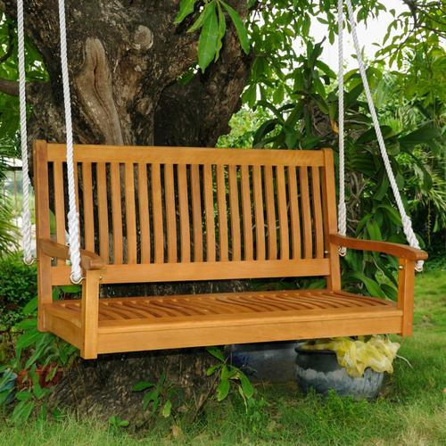 Inspiration about Royal Tahiti 2 Person Light Teak Oil Wood Outdoor Swing Intended For 3 Person Light Teak Oil Wood Outdoor Swings (#3 of 20)