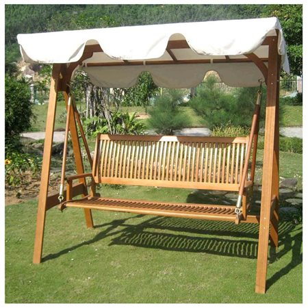 Inspiration about Royal Tahiti 3 Seater Balau Swing With Frame And Canopy, Contemporary –  Walmart For 3 Seater Swings With Frame And Canopy (#1 of 20)