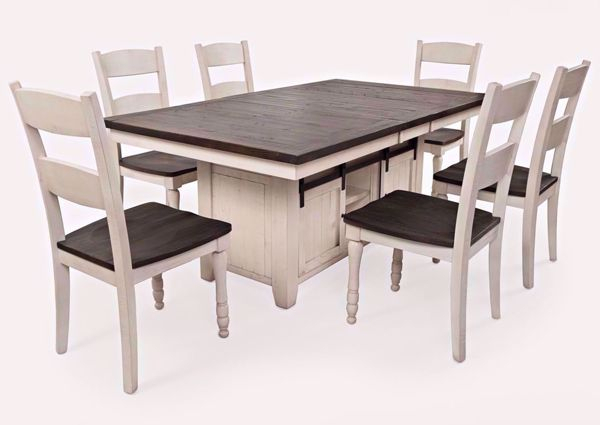 Inspiration about Rustic Country 8 Seating Casual Dining Tables Regarding Popular Madison County 7 Piece Dining Table Set – White (#14 of 20)