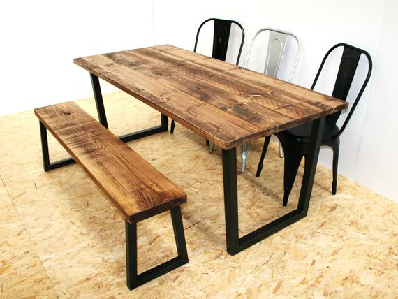 Inspiration about Rustic Dining Table And Bench Black Metal Legs Throughout Most Recently Released Dining Tables With Black U Legs (#6 of 20)