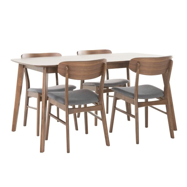 Rustic Mid Century Modern 6 Seating Dining Tables In White And Natural Wood With 2020 Dining Room Sets (View 16 of 20)