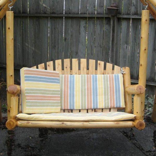 Rustic Natural Cedar Garden Cedar Porch Swing | Porch Swing In 3 Person Natural Cedar Wood Outdoor Swings (#17 of 20)