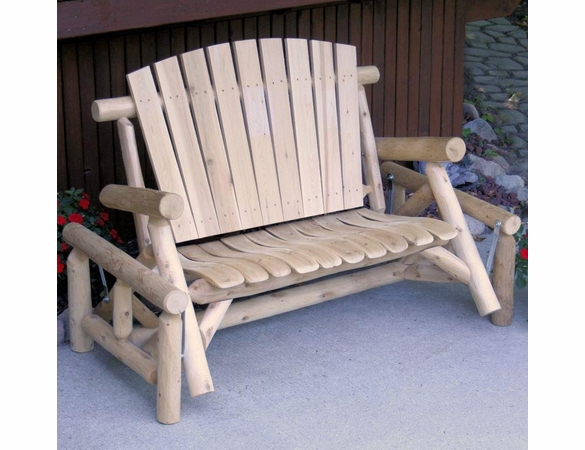 Inspiration about Rustic White Cedar Log Fan Back Glider With Regard To Fanback Glider Benches (#7 of 20)
