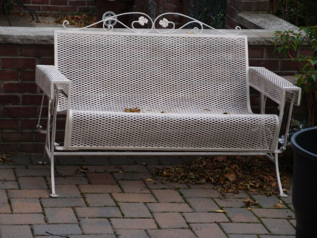 Salterini Mcm Wrought Iron Glider Bench Love Seat Local Pickup With Regard To 2 Person Antique Black Iron Outdoor Gliders (#16 of 20)
