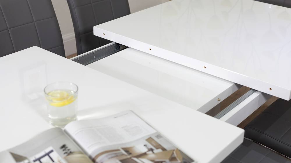 Sanza Small Extending White Gloss Dining Table Intended For Most Recently Released Extension Dining Tables (View 2 of 20)