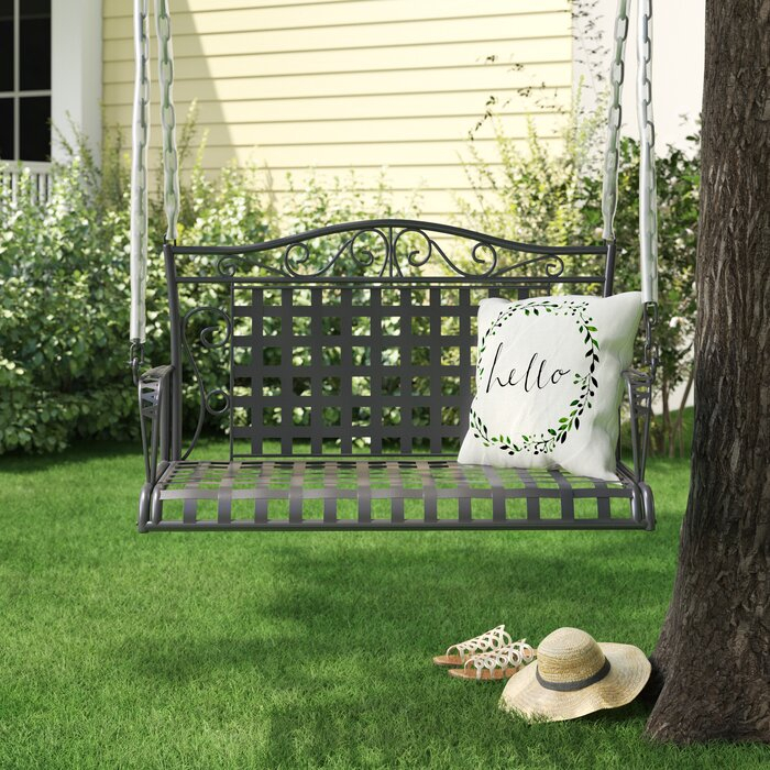 Saundra Iron Porch Swing Regarding 2 Person Hammered Bronze Iron Outdoor Swings (View 5 of 20)
