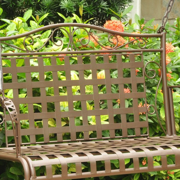 Saundra Iron Porch Swing With Regard To 2 Person Hammered Bronze Iron Outdoor Swings (View 19 of 20)