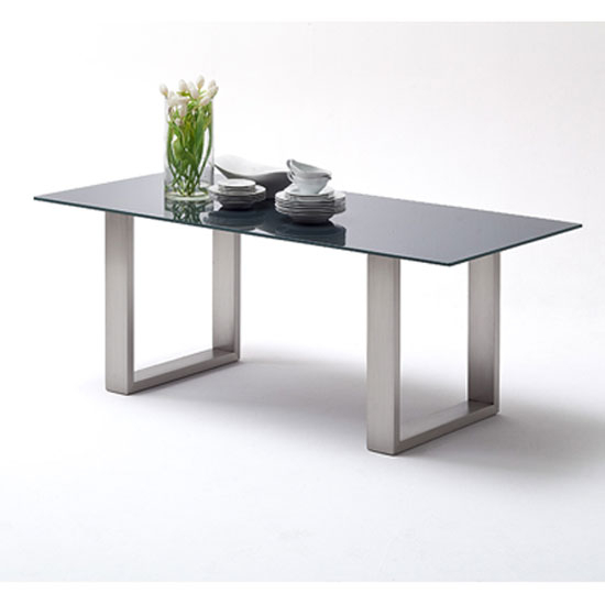 Sayona Glass Dining Table Wide In Grey With Steel Legs Pertaining To Widely Used Glass Dining Tables With Metal Legs (#18 of 20)